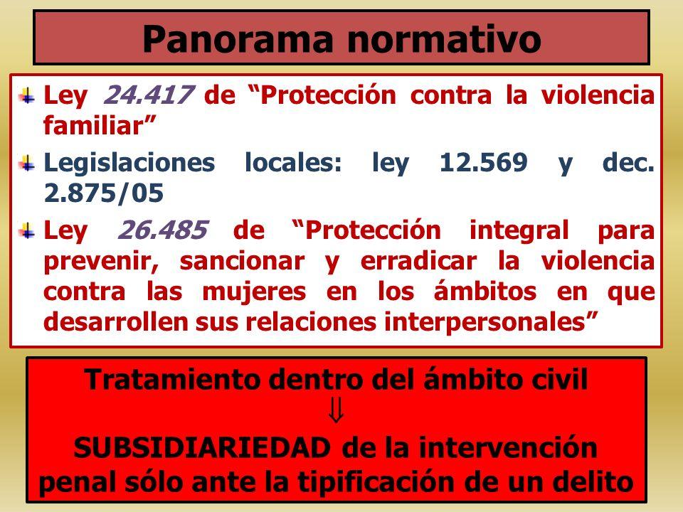 Panorama normativo Ley 24.417 de Protección contra la violencia familiar Legislaciones locales: ley 12.569 y dec. 2.875/05 Ley 26.485 de Protección in
