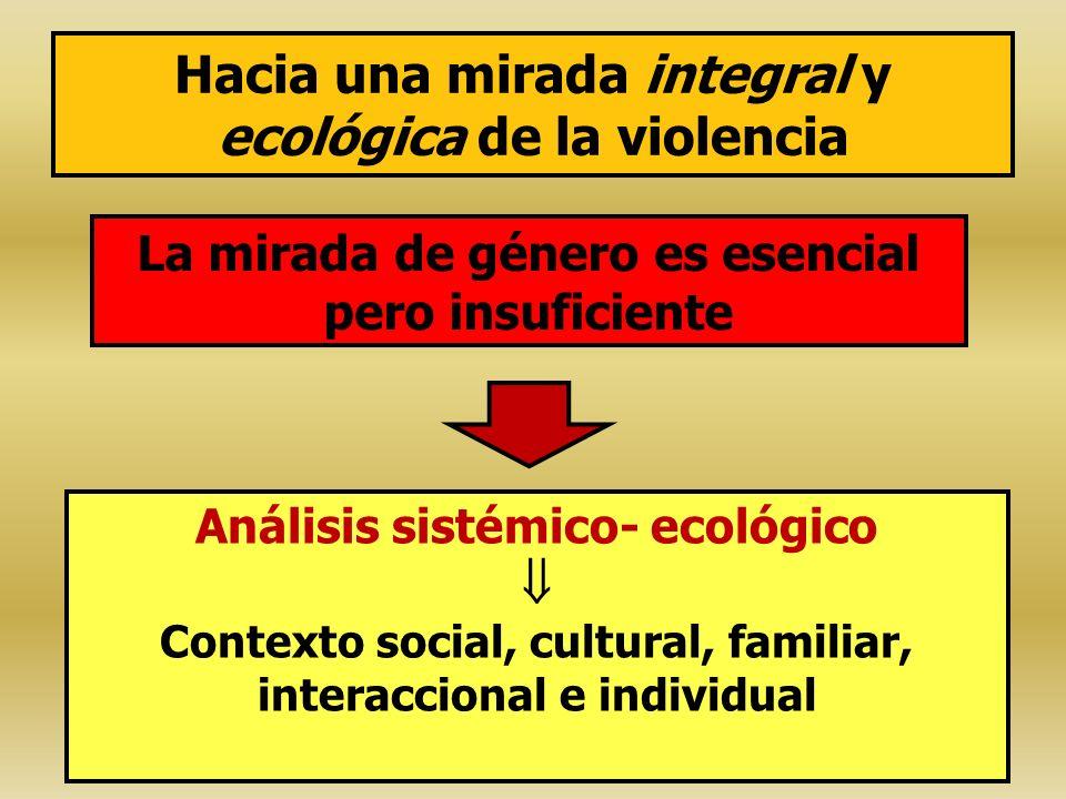 Hacia una mirada integral y ecológica de la violencia La mirada de género es esencial pero insuficiente Análisis sistémico- ecológico Contexto social,