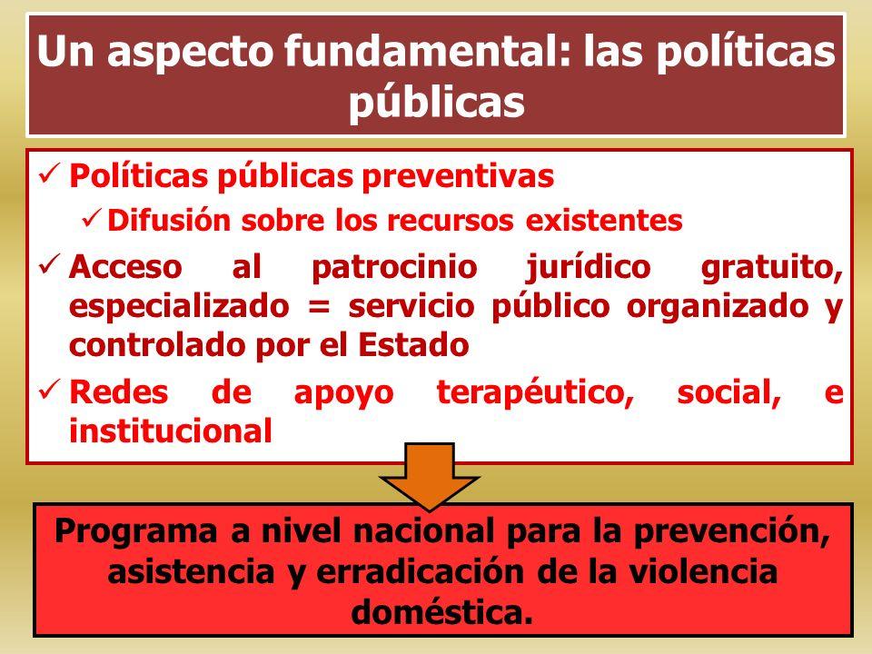 Un aspecto fundamental: las políticas públicas Políticas públicas preventivas Difusión sobre los recursos existentes Acceso al patrocinio jurídico gra
