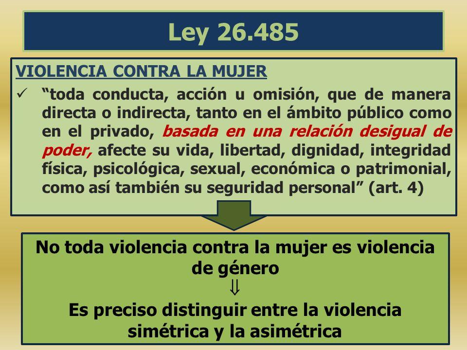 Ley 26.485 VIOLENCIA CONTRA LA MUJER toda conducta, acción u omisión, que de manera directa o indirecta, tanto en el ámbito público como en el privado