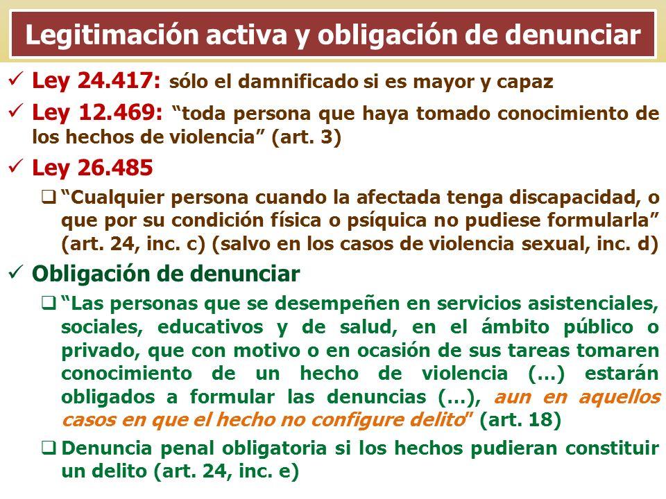 Legitimación activa y obligación de denunciar Ley 24.417: sólo el damnificado si es mayor y capaz Ley 12.469: toda persona que haya tomado conocimient