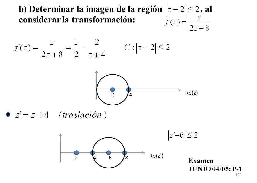 104 Re(z) 24 Re(z') 24 68 b) Determinar la imagen de la región, al considerar la transformación: Examen JUNIO 04/05: P-1
