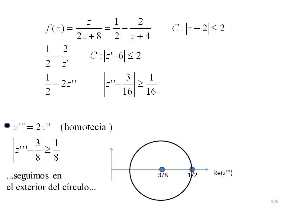 106 Re(z''') 3/81/2...seguimos en el exterior del círculo...
