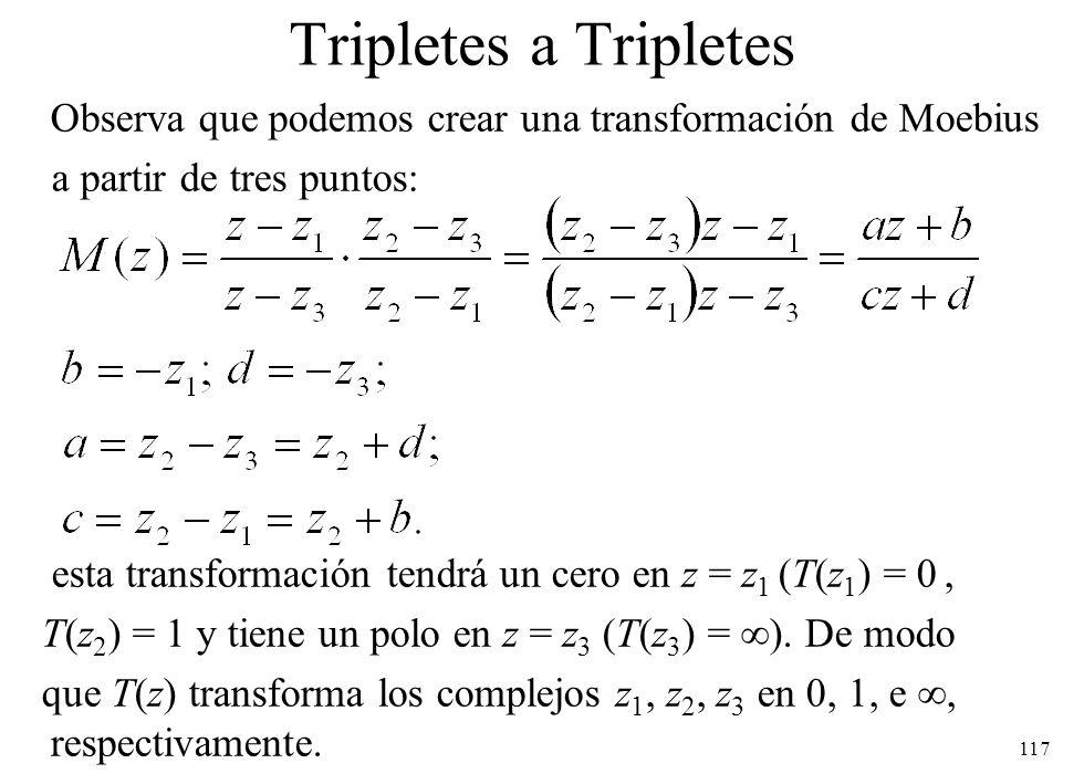 117 Tripletes a Tripletes Observa que podemos crear una transformación de Moebius a partir de tres puntos: esta transformación tendrá un cero en z = z