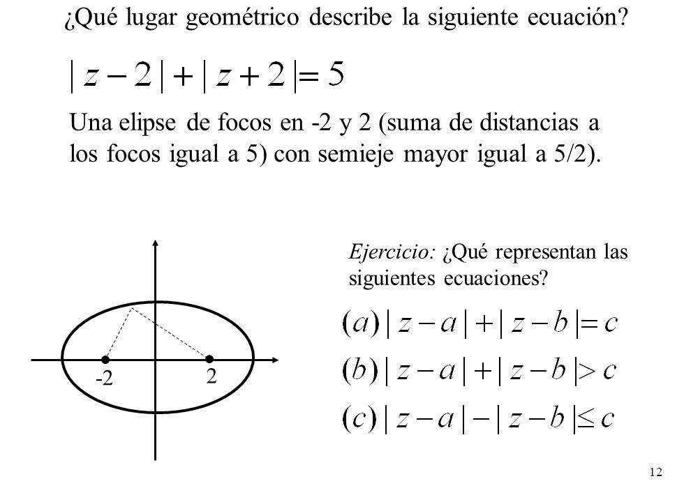 12 ¿Qué lugar geométrico describe la siguiente ecuación? Una elipse de focos en -2 y 2 (suma de distancias a los focos igual a 5) con semieje mayor ig