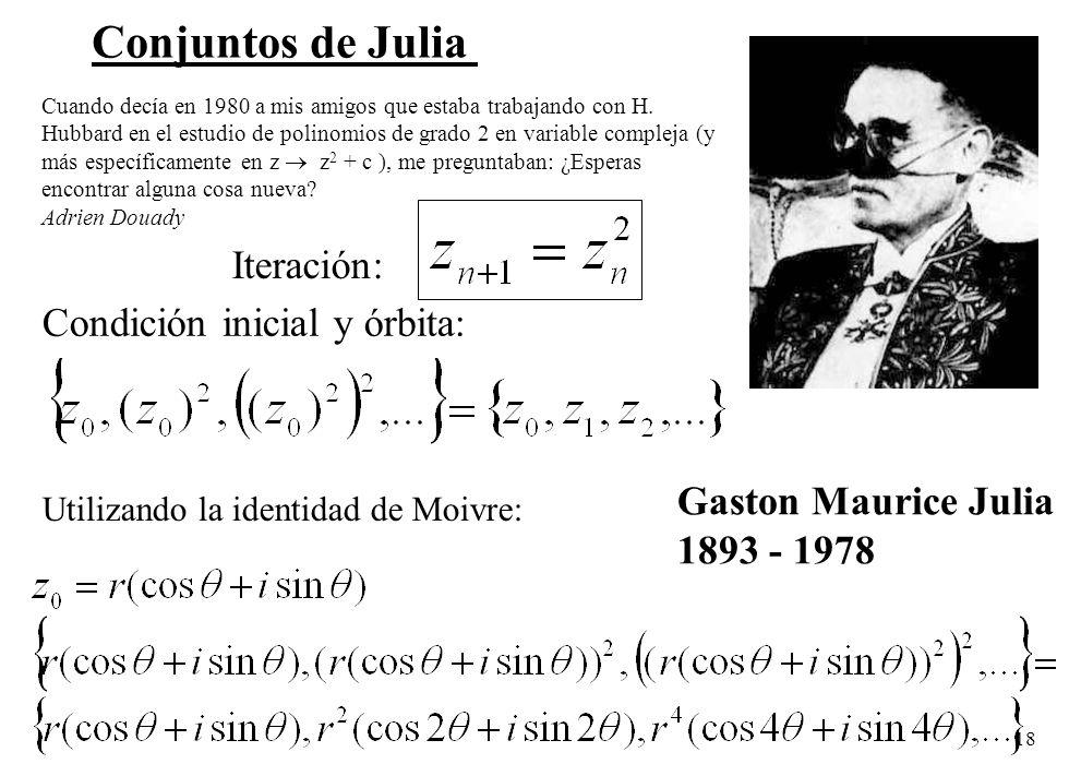 18 Conjuntos de Julia Iteración: Condición inicial y órbita: Utilizando la identidad de Moivre: Gaston Maurice Julia 1893 - 1978 Cuando decía en 1980