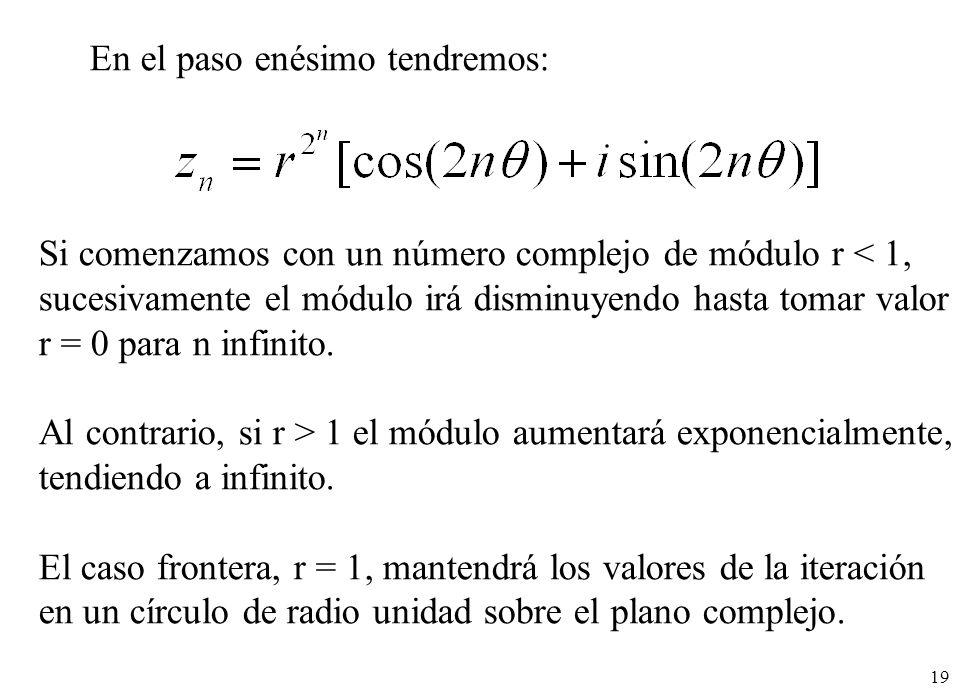 19 En el paso enésimo tendremos: Si comenzamos con un número complejo de módulo r < 1, sucesivamente el módulo irá disminuyendo hasta tomar valor r =