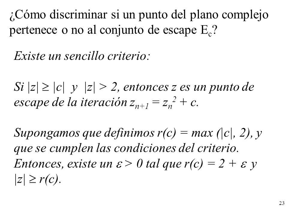 23 ¿Cómo discriminar si un punto del plano complejo pertenece o no al conjunto de escape E c ? Existe un sencillo criterio: Si |z| |c| y |z| > 2, ento