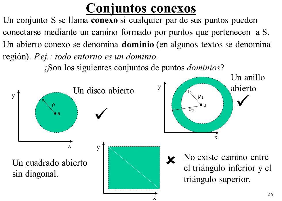 26 Conjuntos conexos ¿Son los siguientes conjuntos de puntos dominios? No existe camino entre el triángulo inferior y el triángulo superior. a x y Un
