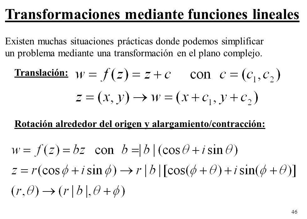 46 Transformaciones mediante funciones lineales Existen muchas situaciones prácticas donde podemos simplificar un problema mediante una transformación