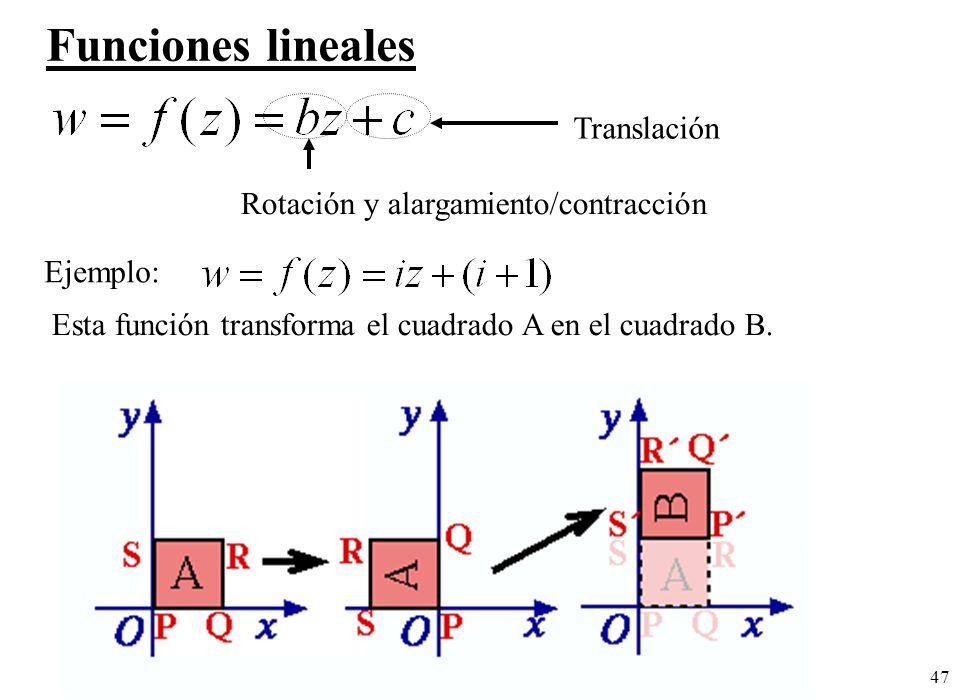 47 Funciones lineales Translación Rotación y alargamiento/contracción Ejemplo: Esta función transforma el cuadrado A en el cuadrado B.