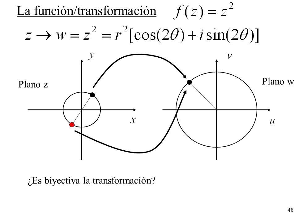 48 La función/transformación ¿Es biyectiva la transformación? Plano z Plano w