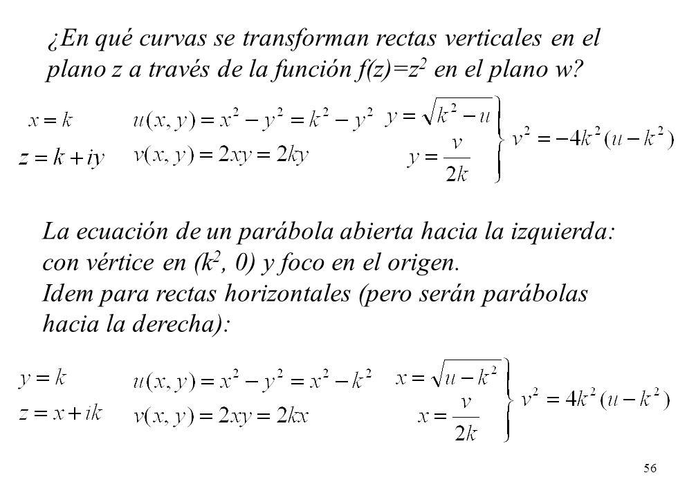 56 ¿En qué curvas se transforman rectas verticales en el plano z a través de la función f(z)=z 2 en el plano w? La ecuación de un parábola abierta hac