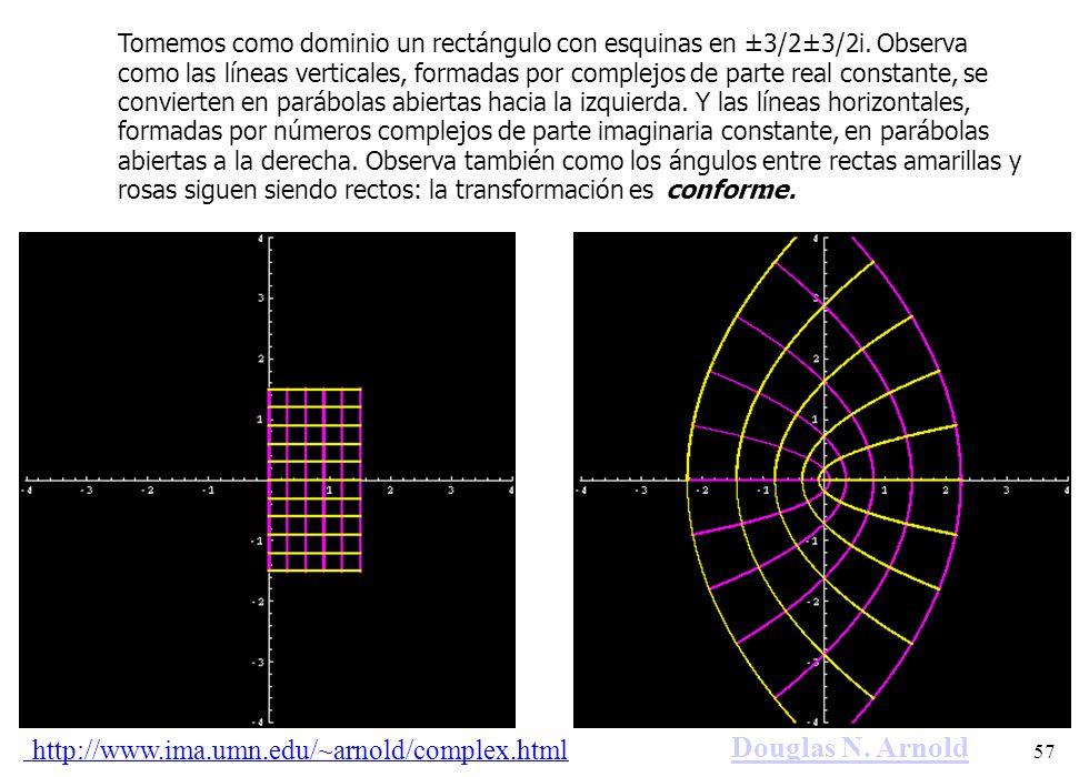57 Tomemos como dominio un rectángulo con esquinas en ±3/2±3/2i. Observa como las líneas verticales, formadas por complejos de parte real constante, s