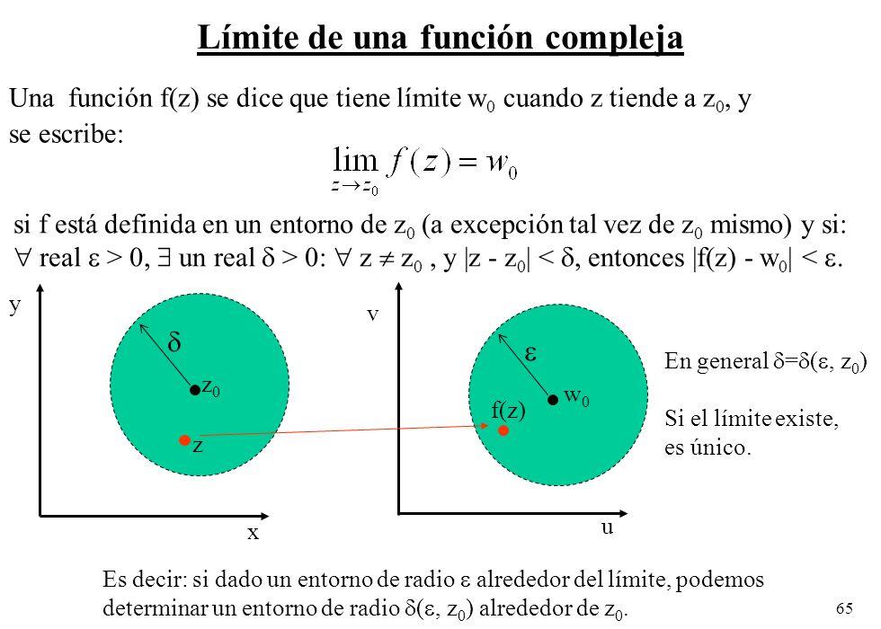 65 Límite de una función compleja Una función f(z) se dice que tiene límite w 0 cuando z tiende a z 0, y se escribe: u si f está definida en un entorn