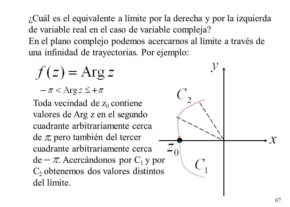 67 ¿Cuál es el equivalente a límite por la derecha y por la izquierda de variable real en el caso de variable compleja? En el plano complejo podemos a