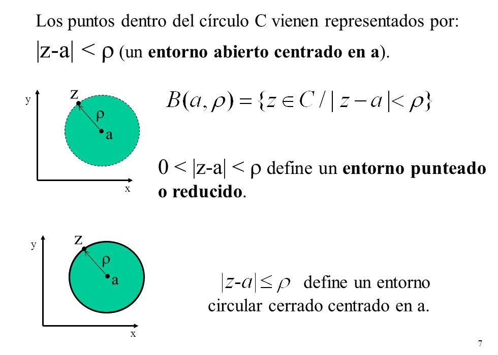 7 Los puntos dentro del círculo C vienen representados por: |z-a| < (un entorno abierto centrado en a). define un entorno circular cerrado centrado en
