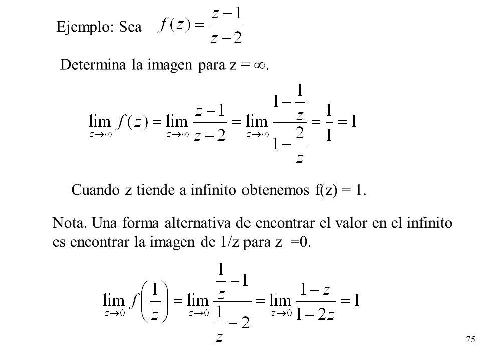 75 Ejemplo: Sea Determina la imagen para z =. Cuando z tiende a infinito obtenemos f(z) = 1. Nota. Una forma alternativa de encontrar el valor en el i