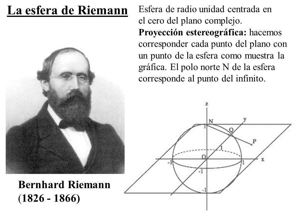 80 Bernhard Riemann (1826 - 1866) Esfera de radio unidad centrada en el cero del plano complejo. Proyección estereográfica: hacemos corresponder cada