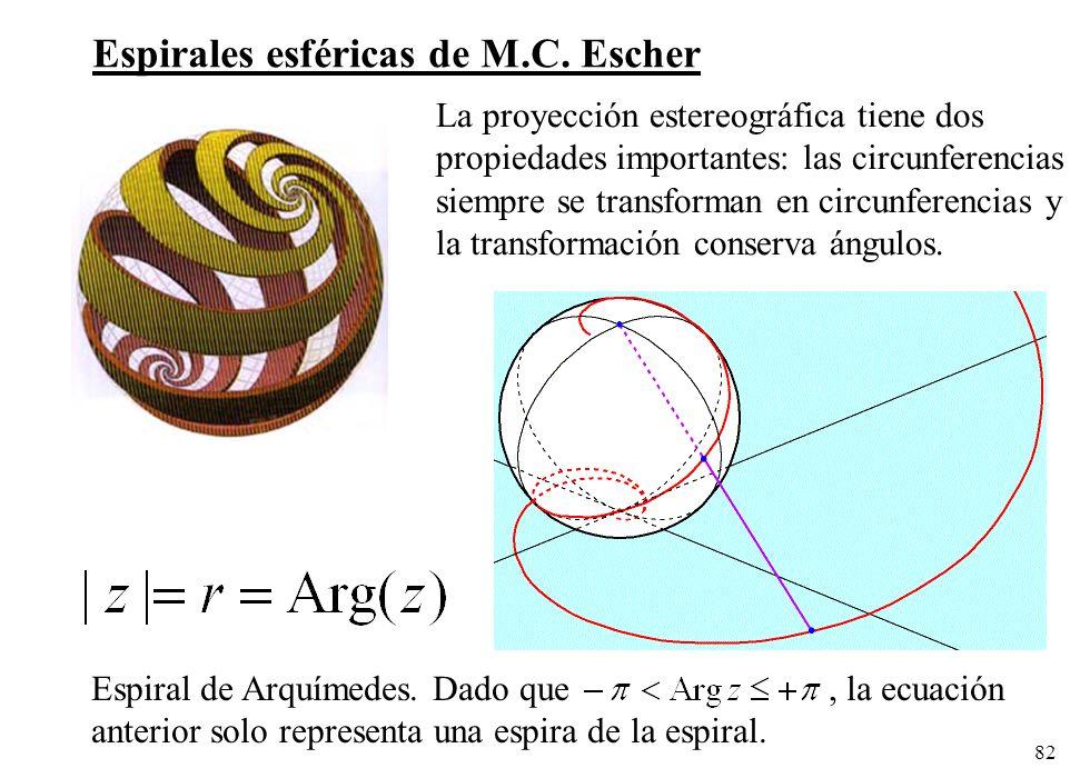 82 Espiral de Arquímedes. Dado que, la ecuación anterior solo representa una espira de la espiral. Espirales esféricas de M.C. Escher La proyección es