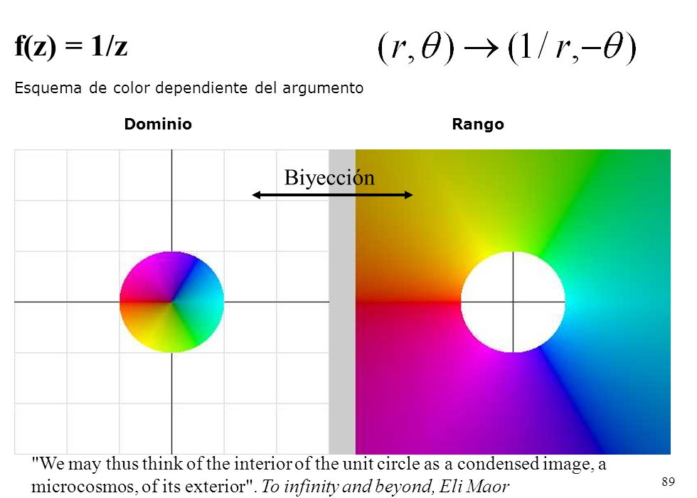 89 f(z) = 1/z Esquema de color dependiente del argumento DominioRango Biyección We may thus think of the interior of the unit circle as a condensed image, a microcosmos, of its exterior .
