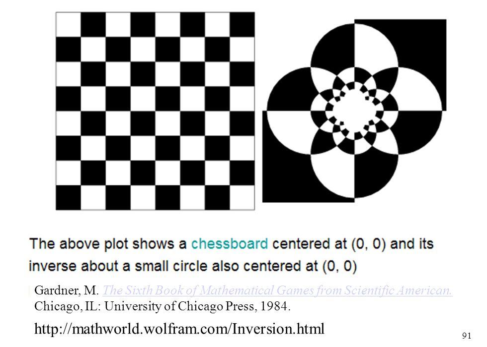 91 http://mathworld.wolfram.com/Inversion.html Gardner, M. The Sixth Book of Mathematical Games from Scientific American.The Sixth Book of Mathematica