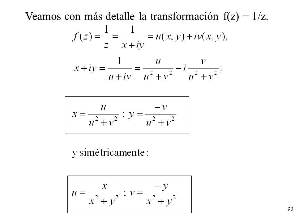 93 Veamos con más detalle la transformación f(z) = 1/z.