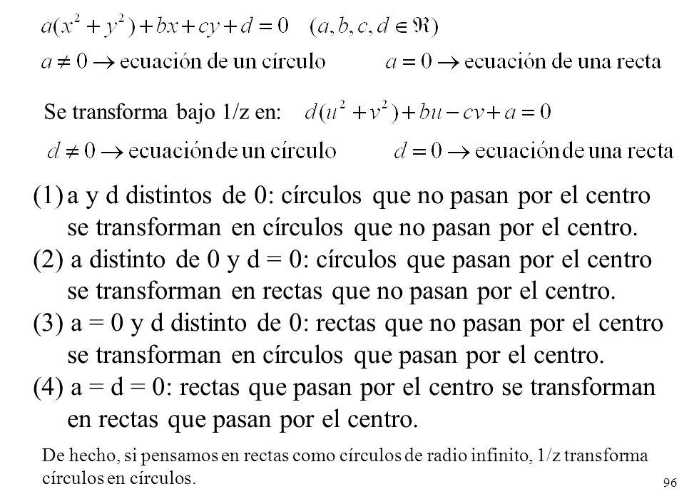 96 (1)a y d distintos de 0: círculos que no pasan por el centro se transforman en círculos que no pasan por el centro. (2) a distinto de 0 y d = 0: cí