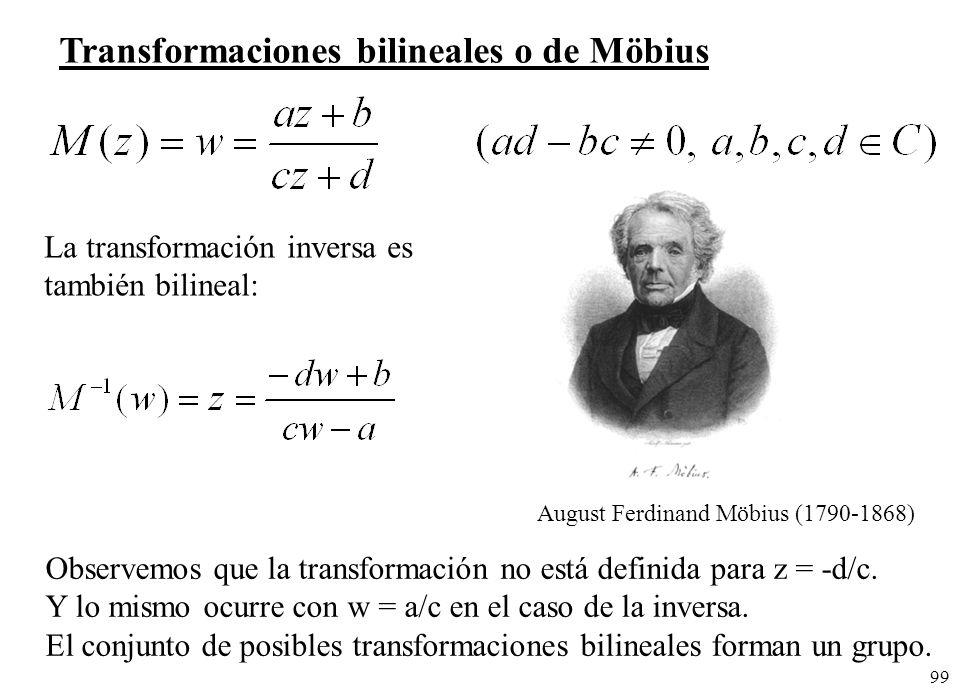 99 Transformaciones bilineales o de Möbius La transformación inversa es también bilineal: Observemos que la transformación no está definida para z = -
