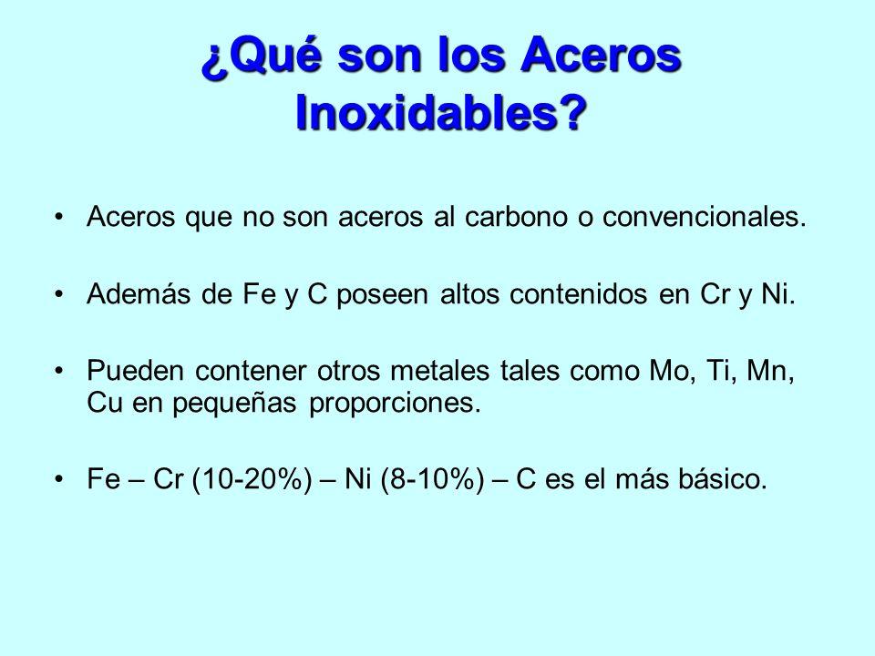 ¿Qué son los Aceros Inoxidables? Aceros que no son aceros al carbono o convencionales. Además de Fe y C poseen altos contenidos en Cr y Ni. Pueden con
