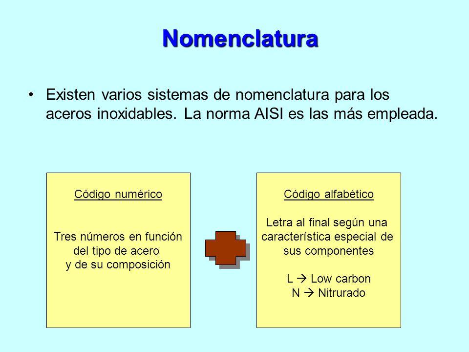 Existen varios sistemas de nomenclatura para los aceros inoxidables. La norma AISI es las más empleada. Código numérico Tres números en función del ti