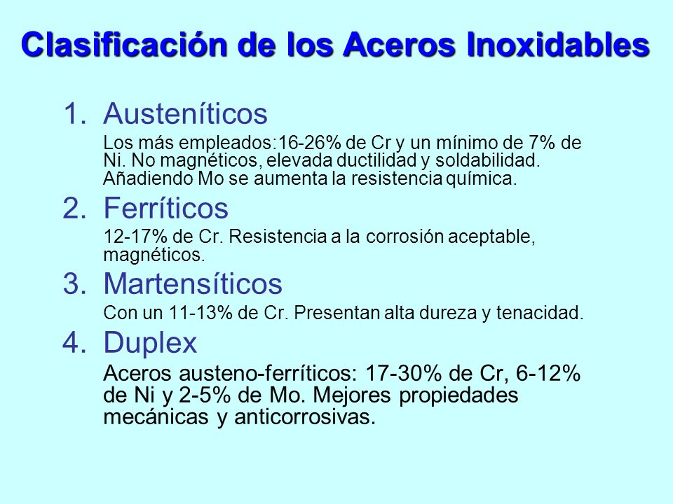 1.Austeníticos Los más empleados:16-26% de Cr y un mínimo de 7% de Ni. No magnéticos, elevada ductilidad y soldabilidad. Añadiendo Mo se aumenta la re