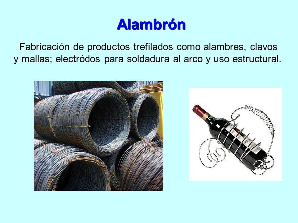 Alambrón Fabricación de productos trefilados como alambres, clavos y mallas; electródos para soldadura al arco y uso estructural.