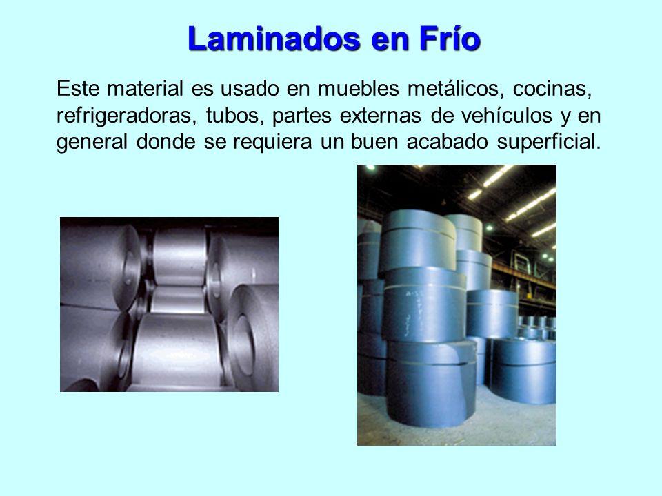 Laminados en Frío Este material es usado en muebles metálicos, cocinas, refrigeradoras, tubos, partes externas de vehículos y en general donde se requ
