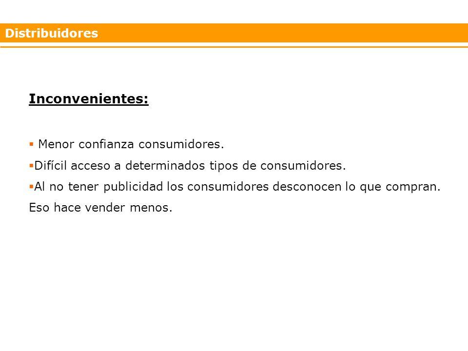 Distribuidores Inconvenientes: Menor confianza consumidores.