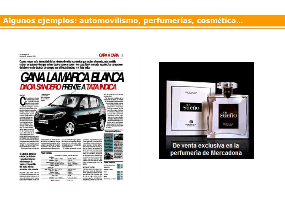 Algunos ejemplos: automovilismo, perfumerías, cosm é tica …