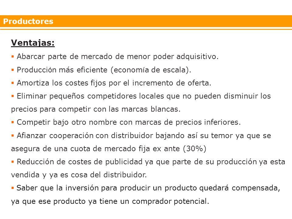 Productores Ventajas: Abarcar parte de mercado de menor poder adquisitivo.