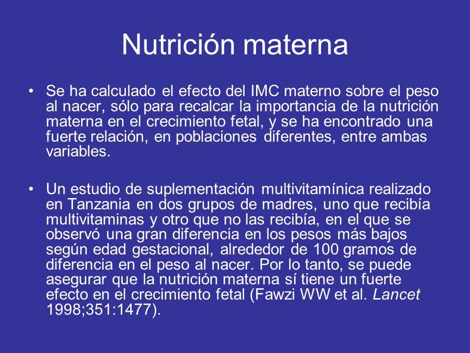 Nutrición materna Se ha calculado el efecto del IMC materno sobre el peso al nacer, sólo para recalcar la importancia de la nutrición materna en el crecimiento fetal, y se ha encontrado una fuerte relación, en poblaciones diferentes, entre ambas variables.