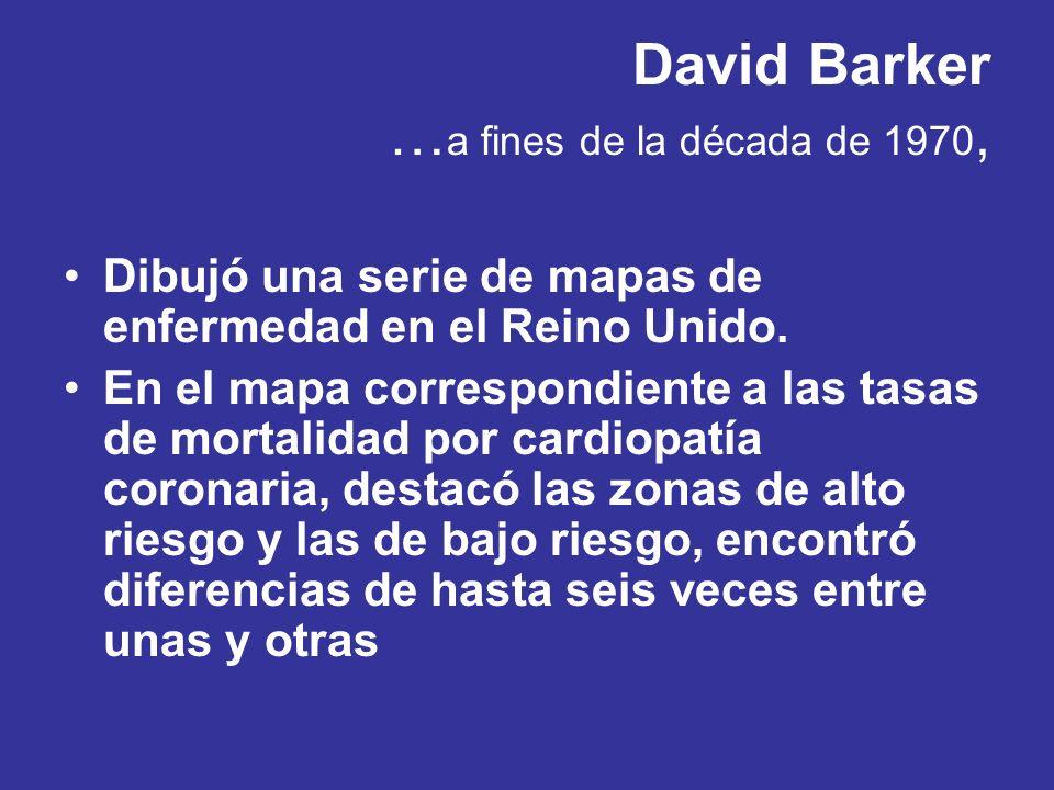 David Barker … a fines de la década de 1970, Dibujó una serie de mapas de enfermedad en el Reino Unido. En el mapa correspondiente a las tasas de mort