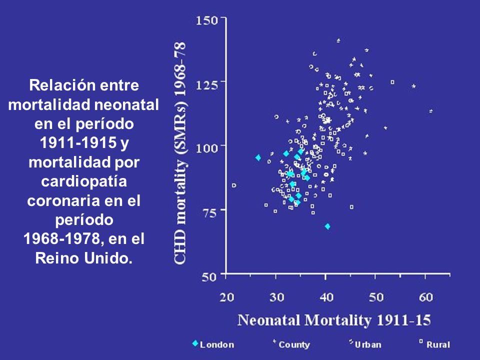 Relación entre mortalidad neonatal en el período 1911-1915 y mortalidad por cardiopatía coronaria en el período 1968-1978, en el Reino Unido.