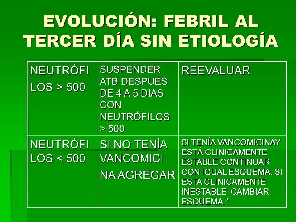 EVOLUCIÓN: FEBRIL AL TERCER DÍA SIN ETIOLOGÍA NEUTRÓFI LOS > 500 SUSPENDER ATB DESPUÉS DE 4 A 5 DIAS CON NEUTRÓFILOS > 500 REEVALUAR NEUTRÓFI LOS < 50