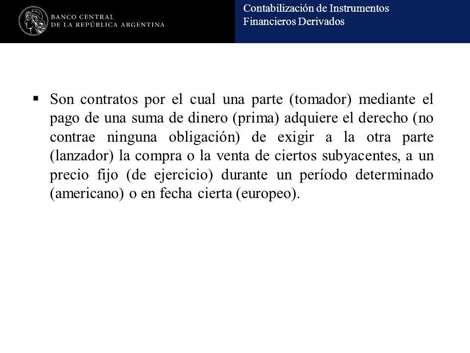Contabilización de Instrumentos Financieros Derivados Son contratos por el cual una parte (tomador) mediante el pago de una suma de dinero (prima) adq