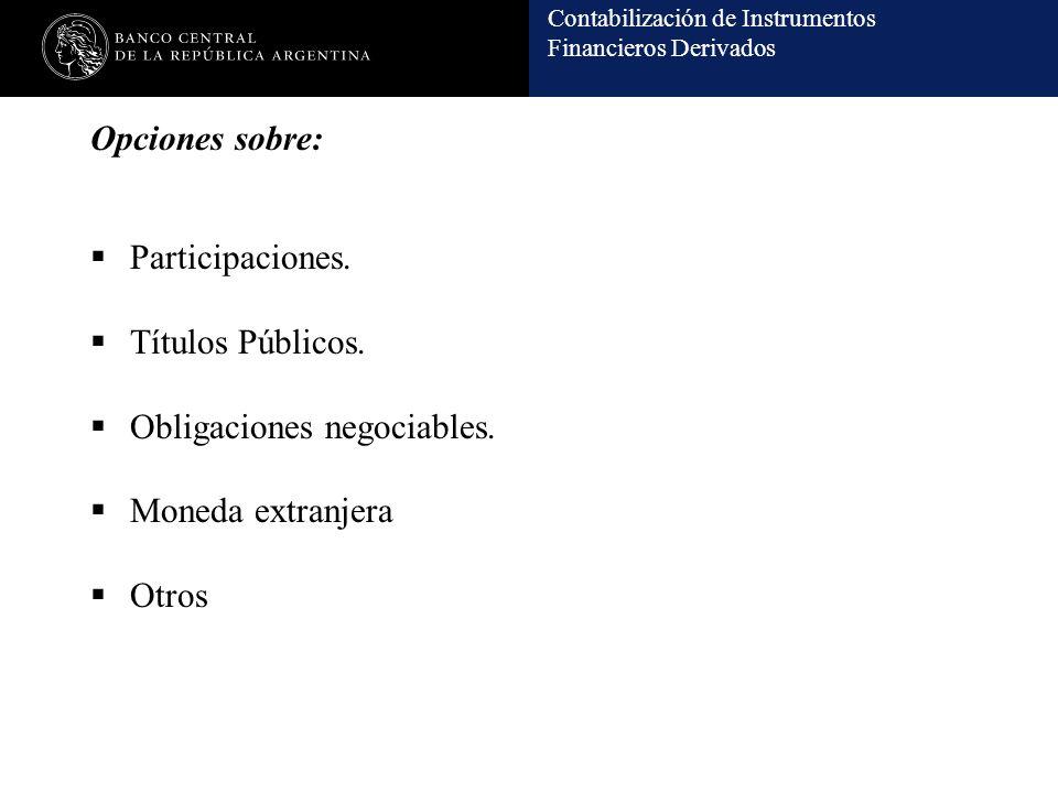 Contabilización de Instrumentos Financieros Derivados Opciones sobre: Participaciones. Títulos Públicos. Obligaciones negociables. Moneda extranjera O