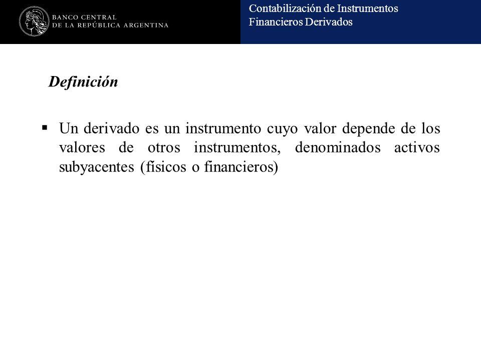 Contabilización de Instrumentos Financieros Derivados Definición Un derivado es un instrumento cuyo valor depende de los valores de otros instrumentos, denominados activos subyacentes (físicos o financieros)