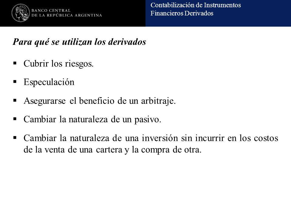Contabilización de Instrumentos Financieros Derivados Para qué se utilizan los derivados Cubrir los riesgos. Especulación Asegurarse el beneficio de u