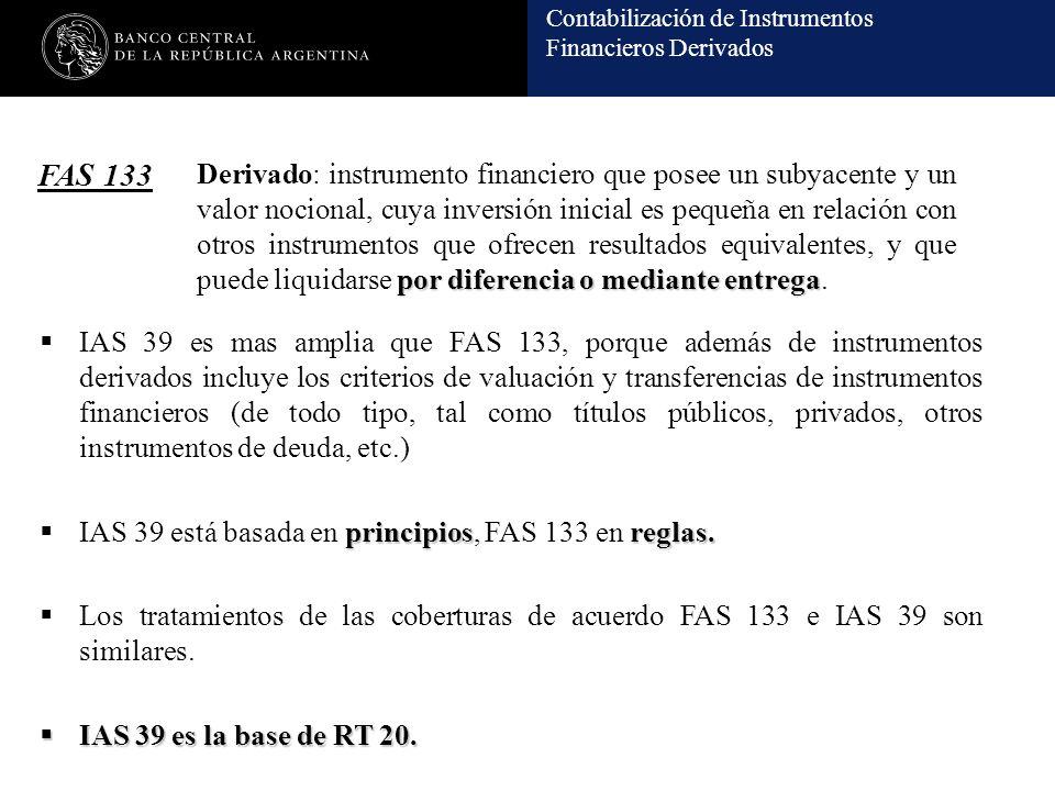 Contabilización de Instrumentos Financieros Derivados FAS 133 por diferencia o mediante entrega Derivado: instrumento financiero que posee un subyacente y un valor nocional, cuya inversión inicial es pequeña en relación con otros instrumentos que ofrecen resultados equivalentes, y que puede liquidarse por diferencia o mediante entrega.