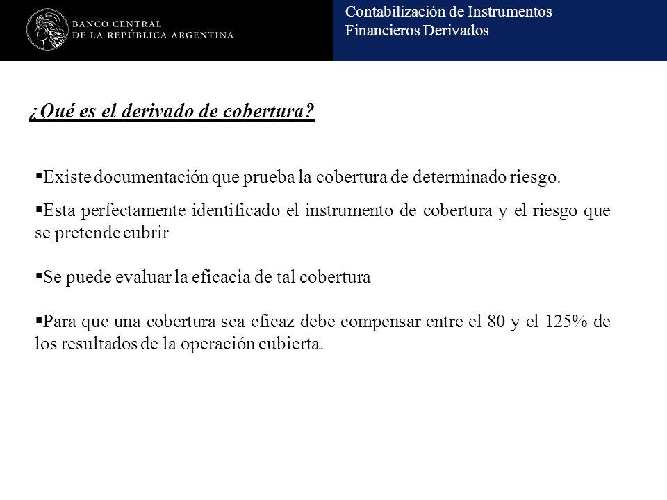 Contabilización de Instrumentos Financieros Derivados Existe documentación que prueba la cobertura de determinado riesgo.