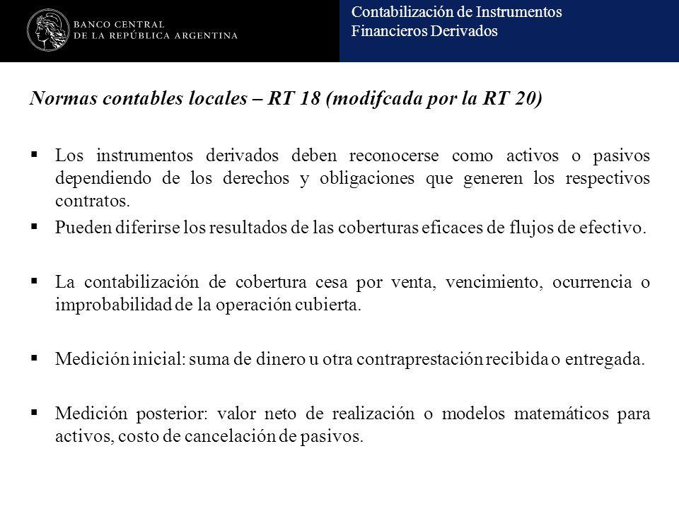 Contabilización de Instrumentos Financieros Derivados Normas contables locales – RT 18 (modifcada por la RT 20) Los instrumentos derivados deben reconocerse como activos o pasivos dependiendo de los derechos y obligaciones que generen los respectivos contratos.