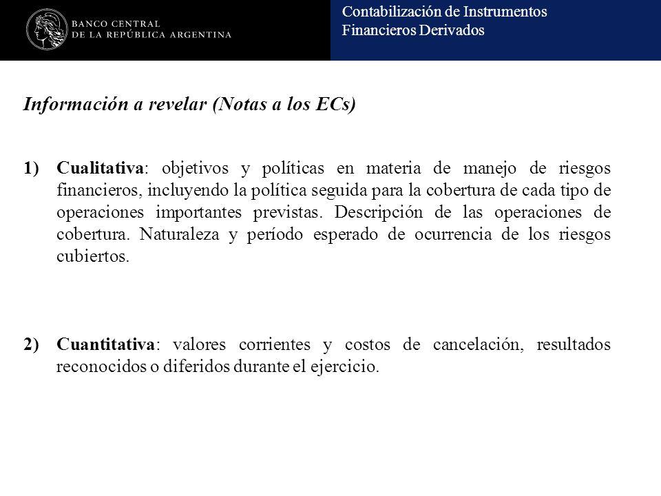 Contabilización de Instrumentos Financieros Derivados Información a revelar (Notas a los ECs) 1)Cualitativa: objetivos y políticas en materia de manej