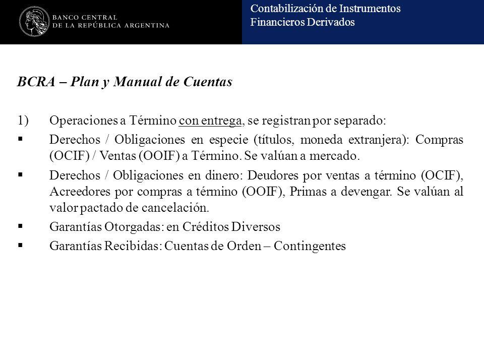Contabilización de Instrumentos Financieros Derivados BCRA – Plan y Manual de Cuentas 1)Operaciones a Término con entrega, se registran por separado: Derechos / Obligaciones en especie (títulos, moneda extranjera): Compras (OCIF) / Ventas (OOIF) a Término.